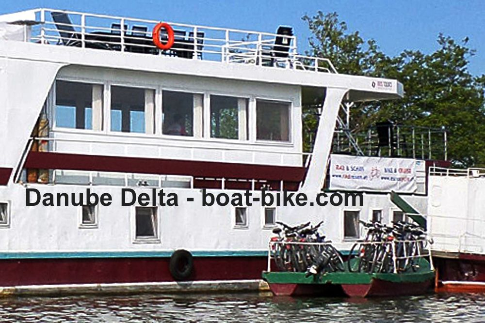 Towered Barge in Danube Delta - bike space
