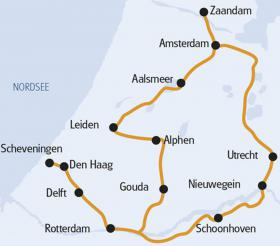 Cycling in Southern Holland - Map