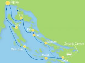 Sports-activity cruise on MS Planka - map