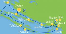 Cruise in Northern Dalmatia on MS Carpe Diem - map