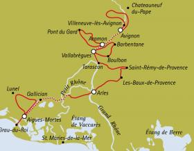 Provence & Camargue by Boat & Bike - map